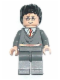 Minifig No: hp086  Name: Harry Potter, Gryffindor Stripe Torso, Dark Bluish Gray Legs