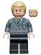 Minifig No: hp115  Name: Draco Malfoy, Slytherin Stripe and Shield Torso, Black Legs
