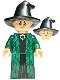 Minifig No: hp274  Name: Professor Minerva McGonagall, Dark Green Robe and Cape, Hat with Hair