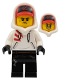 Minifig No: hs004  Name: Jack Davids - White Hoodie with Cap and Hood (Large Smile / Grumpy)