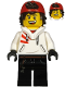 Minifig No: hs037  Name: Jack Davids - White Hoodie with Backwards Cap and Hood Folded Down (Open Mouth Smile / Scared)