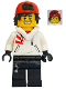 Minifig No: hs043  Name: Jack Davids - White Hoodie with Backwards Cap and Hood Folded Down (Large Smile / Grumpy)