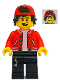 Minifig No: hs047  Name: Jack Davids - Red Jacket with Backwards Cap (Open Mouth Smile / Scared)