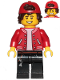 Minifig No: hs052  Name: Jack Davids - Red Jacket with Backwards Cap (Large Smile with Teeth / Angry)