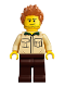 Minifig No: idea052  Name: Dad, Stubble, Shirt with Dark Green Collar, Medium Nougat Hair Spiked