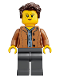 Minifig No: idea053  Name: Mom, Freckles, Medium Dark Flesh Jacket, Dark Brown Hair Swept Left Tousled