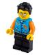 Minifig No: idea080  Name: Man, Dark Azure Letter Jacket, Black Legs, Black Hair