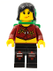 Minifig No: ixs012  Name: Xtreme Stunts Sky Lane, Black Female Hair, Green Backpack with Sleeping Bag