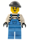 Minifig No: ixs014  Name: Xtreme Stunts Brickster Henchman with Medium Blue Overalls #1, Dark Bluish Gray Knit Cap