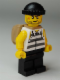Minifig No: jail005  Name: Police - Jail Prisoner Shirt with Prison Stripes and Torn out Sleeves, Black Legs, Black Knit Cap, Open Backpack