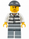 Minifig No: jail006  Name: Police - Jail Prisoner 86753 Prison Stripes, Dark Bluish Gray Knit Cap, Scowl
