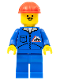 Minifig No: jbl002  Name: Bulldozer Logo - Blue Legs, Red Construction Helmet