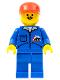 Minifig No: jbl009  Name: Bulldozer Logo - Blue Legs, Red Cap