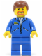 Minifig No: jbl010  Name: Jacket Blue - Blue Legs, Reddish Brown Male Hair, Brown Facial Hair (Commentator)
