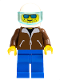 Minifig No: jbr001  Name: Helicopter Pilot - Brown Jacket, Blue Legs, White Helmet, Trans-Light Blue Visor