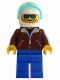 Minifig No: jbr001a  Name: Helicopter Pilot - Reddish Brown Jacket, Blue Legs, White Helmet, Trans-Light Blue Visor