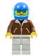 Minifig No: jbr003  Name: Jacket Brown - Light Gray Legs, Blue Helmet, Trans-Light Blue Visor