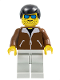 Minifig No: jbr009  Name: Jacket Brown - Light Gray Legs, Black Male Hair, Blue Sunglasses