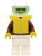 Minifig No: jbr011  Name: Jacket Brown - White Legs, White Helmet, Trans-Light Blue Visor, Blue Sunglasses, Life Jacket