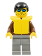 Minifig No: jbr012  Name: Jacket Brown - Light Gray Legs, Black Male Hair, Life Jacket
