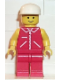 Minifig No: jred002  Name: Jacket Red with Zipper - Yellow Arms - Red Legs, White Cap