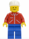 Minifig No: jred003  Name: Jacket Red with Zipper - Red Arms - Blue Legs, White Cap