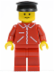 Minifig No: jred005  Name: Jacket Red with Zipper - Red Arms - Red Legs, Black Hat