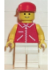 Minifig No: jred006  Name: Jacket Red with Zipper - Yellow Arms - White Legs, Red Cap