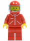 Minifig No: jred007  Name: Jacket Red with Zipper - Red Arms - Red Legs, Red Helmet, Trans-Light Blue Visor