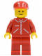 Minifig No: jred008  Name: Jacket Red with Zipper - Red Arms - Red Legs, Red Cap