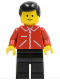 Minifig No: jred009  Name: Jacket Red with Zipper - Red Arms - Black Legs, Black Male Hair