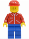 Minifig No: jred010  Name: Jacket Red with Zipper - Red Arms - Blue Legs, Red Construction Helmet
