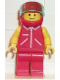 Minifig No: jred012  Name: Jacket Red with Zipper - Yellow Arms - Red Legs, Red Helmet, Trans-Light Blue Visor