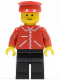 Minifig No: jred014  Name: Jacket Red with Zipper - Red Arms - Black Legs, Red Hat