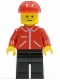Minifig No: jred016  Name: Jacket Red with Zipper - Red Arms - Black Legs, Red Construction Helmet