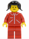 Minifig No: jred017  Name: Jacket Red with Zipper - Red Arms - Red Legs, Black Pigtails Hair
