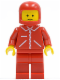 Minifig No: jred018  Name: Jacket Red with Zipper - Red Arms - Red Legs, Red Classic Helmet
