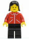 Minifig No: jred020  Name: Jacket Red with Zipper - Red Arms - Black Legs, Black Female Hair