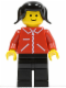 Minifig No: jred021  Name: Jacket Red with Zipper - Red Arms - Black Legs, Black Pigtails Hair