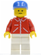 Minifig No: jred022  Name: Jacket Red with Zipper - Red Arms - White Legs, Blue Cap