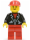 Minifig No: lea003  Name: Leather Jacket with Zippers - Red Legs, Red Cap, Eyebrows