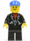Minifig No: lea004  Name: Leather Jacket with Zippers - Black Legs, Blue Cap, Eyebrows