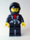 Minifig No: lea005  Name: Leather Jacket with Zippers - Black Legs, Black Helmet, Black Visor, Male