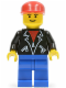 Minifig No: lea006  Name: Leather Jacket with Zippers - Blue Legs, Red Cap, Eyebrows
