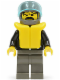 Minifig No: lea007  Name: Leather Jacket with Zippers - Dark Gray Legs and Helmet, Life Jacket