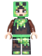 Minifig No: min039  Name: Minecraft Skin 6 - Pixelated, Bright Green and Dark Brown Creeper Costume