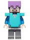 Minifig No: min060  Name: Steve - Medium Lavender Helmet, Medium Azure Armor, Flat Silver Legs