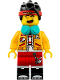 Minifig No: mk021  Name: Monkie Kid - Bright Light Orange Jacket, Headphones (Happy / Fierce)