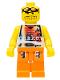 Minifig No: nba033  Name: Basketball Street Player, Tan Torso and Orange Legs