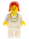 Minifig No: ncklc002  Name: Necklace Gold - White Legs, Red Female Hair